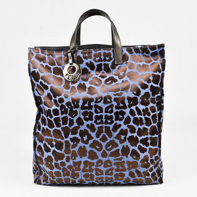 35bf02a74f47 Fendi Blue   Brown Jacquard Canvas   Leather Leopard Top Handle Shopping  Tote
