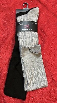 b7c071945dc WOMEN S OVER KNEE Socks One Size - 2 Pair - Gray   Black - Soft ...