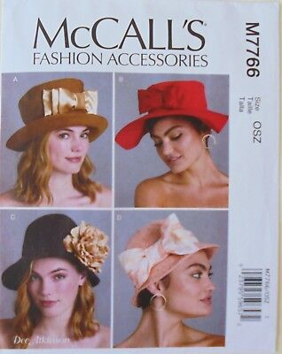 7805 UNCUT Vintage McCalls Sewing Pattern Misses Mens Fashion Accessories Caps