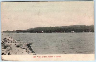 ISLAND OF GUAM,  U.S. Territory   Handcolored  VIEW OF PITI    Postcard