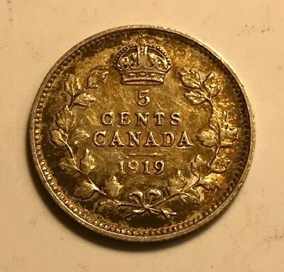 CANADA - George V - Silver 5 Cents 1919  - Beautifully Toned - FREE SHIPPING!