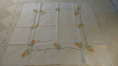 "Vintage Linen Embroidered TABLECLOTH, Shades of Orange,Mint Green Floral 32""x32"""