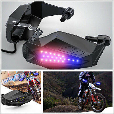 2 X Motorcycle Handguard Baffle Grip Protection Hood With Dual Color LED Lights