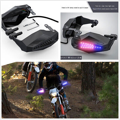 2 Pcs Waterproof Motorcycle Handguard Baffle Grip Protector Hood+LED Lamps DC12V
