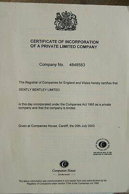 UK Limited Company For Sale - Gently Bentley Ltd