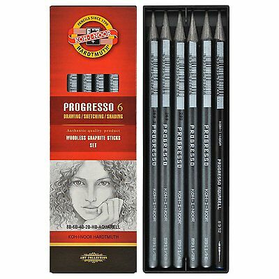 Pack of 6 Koh-I-Noor Progresso Woodless Graphite Pencils