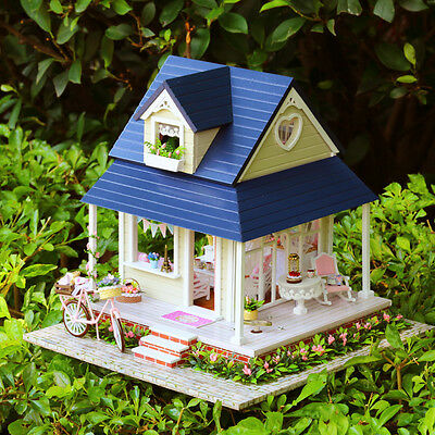 Mini Music Dollhouse Villa Wooden Doll House Bicycle Light Furniture DIY Gifts