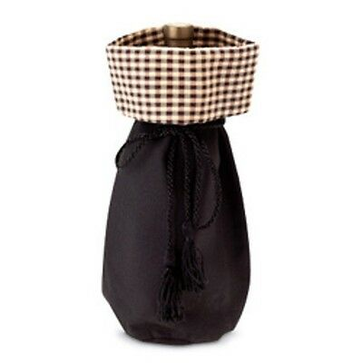 Longaberger Gift Bag Black / Khaki Check Quality Wine Bottle Beverage Tote New