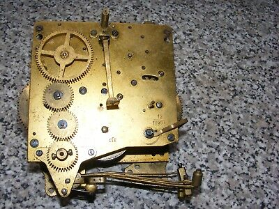 Vintage Haller  Mantle Clock Brass Movement Striking Parts Restore 12/18975