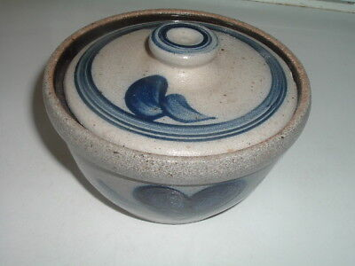 Vintage Stoneware Pottery Covered Bowl Dish w Lid and Cobalt Blue Hearts