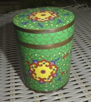 Antique Chinese Cloisonne Tea Caddy Box can canister bronze enamel jar green 2.5
