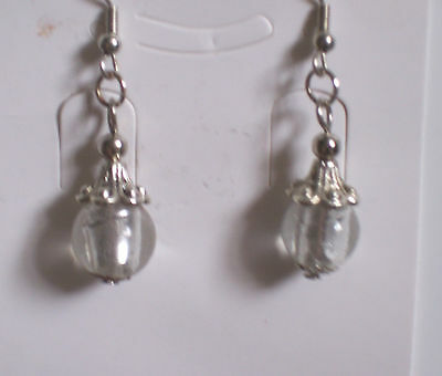 Clear Tibetan Silver Glass Short Clip-on Earrings