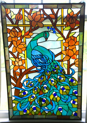 Large Tiffany Style Stained Glass Peacock window panel 23 x 34