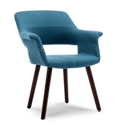 Mid-Century Modern Upholstered Fabric Dining Room Armchair With Wood Legs Blue