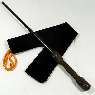 """15"""" Harry Potter Hand Carved Almond Wood Magic Wand Wizard Wiccan W/ Velvet Bag"""
