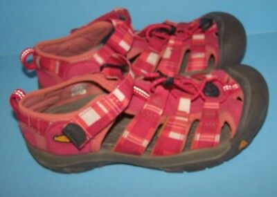 Keen Girls Youth Sport Sandals Size 3 Pink & Coral Stripe Washable Shoes RARE