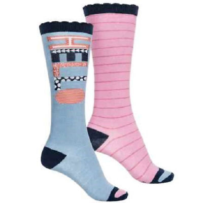 Stride Rite Girls' 2-Pack Knee High Socks in Pink/Blue - Shoe Size 10-13