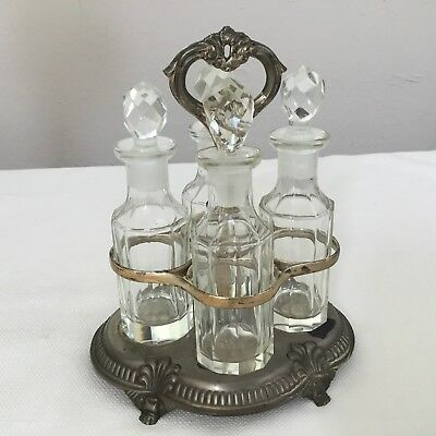Vintage 4 Bottle Cruet Set Shabby Cottage Chic