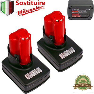 2X Milwaukee M12B4 Batteria 12V 4.0Ah Red Lithium-Ion 48-11-2401 2402 20 2440 IT