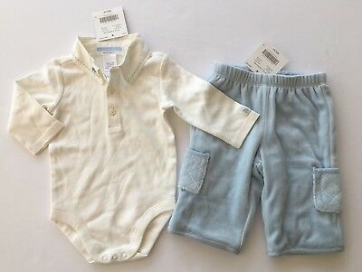JANIE AND JACK Layette White Train Collared Bodysuit Size 0-3 Months