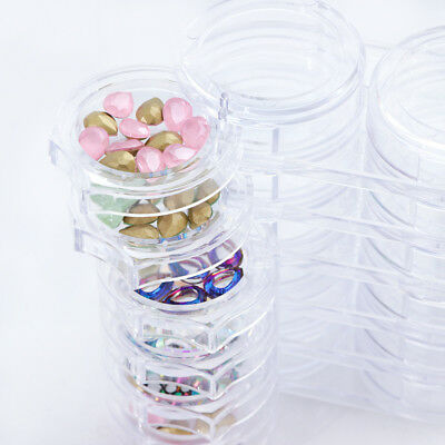Nail Art Jewelry Container 12 Slots Rotate Box Rhinestones Empty Case Holder