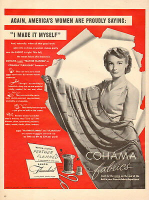 1942 vintage AD COHAMA Fabrics Feather Flannel, Flanalain  122817
