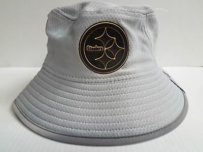 bc5238ff39a7f Pittsburgh Steelers New Era Bucket Hat 2018 On Field Training Gray  Reflective