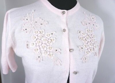 Soft Pink 50s Sweater ~ Vintage Acrylic w/ Appliqué & Rhinestone Buttons ~Pin Up
