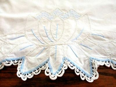 Cotton Baby Pillowcase  Blue Embroidery Drawnwork Crocheted Scalloped Hem 21x15