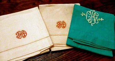 "Lot 3 Pair 2 Vintage Huck 3-Letter Monogram  Tea Hand Towels 20"" Napkins UNUSED"
