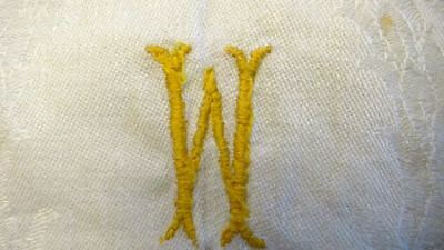 2 Huck  Linen Hand/ Guest Towels  Drawn work One Monogram W Damask Weave