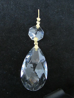"12  Aaa  30 % Lead Crystals Prism Chandelier  Parts  2 ""  Tear Drop Brass"