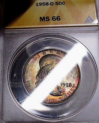 *Fabulous* 1958-D ANACS MS66 Franklin Silver Half Dollar! Colorful Party Toned!!