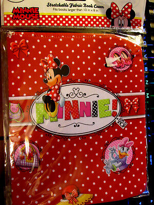 "Disney MINNIE MOUSE Stretchable Fabric Bookcover Fits Books over 8"" x 10"""