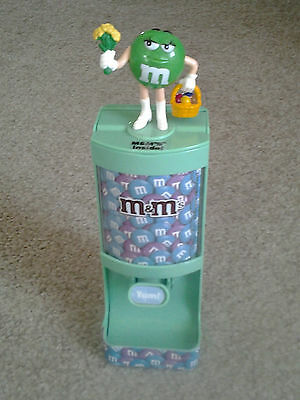 M&Ms GREEN CHARACTER with EASTER BASKET & FLOWERS 2011 retired CANDY DISPENSER