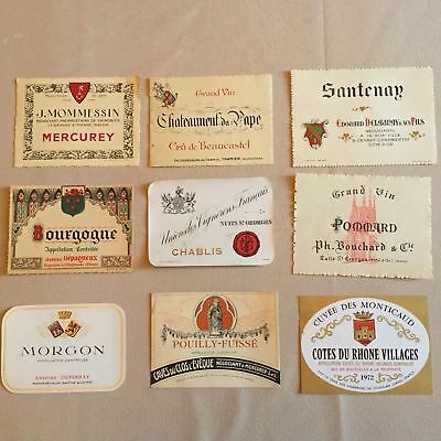 64 Vintage Wine Labels  - France - Bourgogne Et Bordeaux