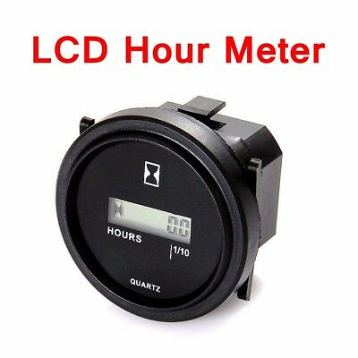 "12V 24V 36V LCD Digital Hour Meter Car Truck Marine Boat Engine 2"" Round Gauge"