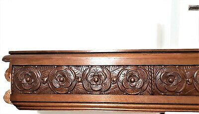 Architectural flower art deco Antique french carved wood salvaged panel trim