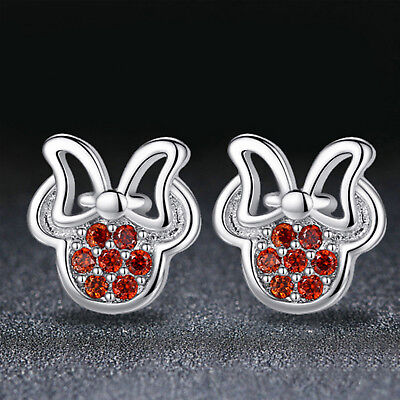 Sterling Silver Plated Rhinestone Cute Mickey & Minnie Mouse Stud Earrings