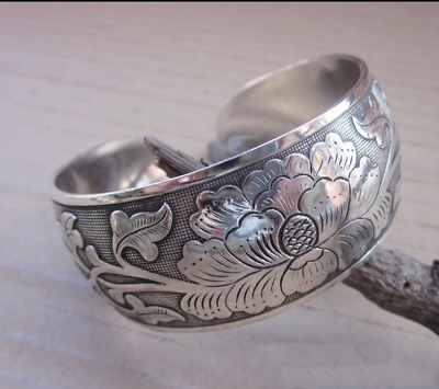 Tibetan Tibet Silver Peony Totem Carved Bangle Cuff Fashion Bracelet Jewelry