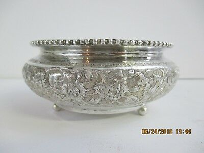 Antique Old Persian Silver Footed Potpourri Bowl - No Lid