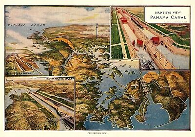 1915 Antique PANAMA CANAL Print Pedro Miguel Locks GATUN DAM & Locks 5358
