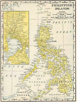 1911 Antique PHILIPPINES Map VINTAGE Map of the Philippine Islands Map 5365