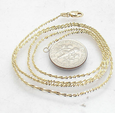 0becc53ead66d6 Solid Sparkle Twisted Rock Glitter Chain Necklace Real 10K Yellow Gold 16  18 20