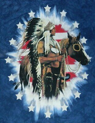 Stars and Bars Proud Native American and Flag Hand-Dyed T-Shirt MED. NEW UNUSED