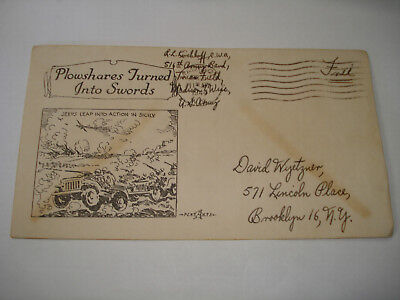 WW II COVER 516th US ARMY BAND Truax Field MADISON WI Patriotic JEEP  in  Sicily