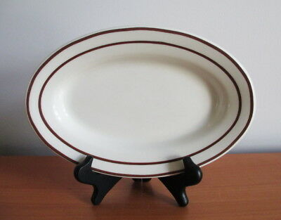 """American Commercial China Oval Plate Restaurant Ware Brown Line 9 1/4"""" USA Made"""