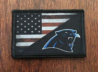 USA Flag / Carolina Panthers Morale Patch Tactical Military Army Flag Badge Hook