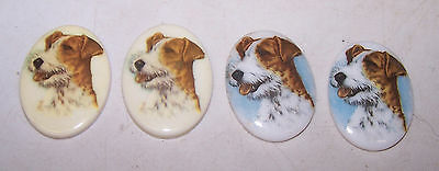 4 FOX TERRIER ? Dog Decorative Medallions for Crafts Art Jewelry