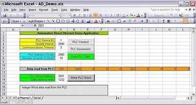 Ethernet/Serial ActiveX Driver Read/Write Automation Direct PLC Data into Excel